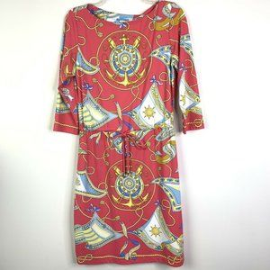 J. McLaughlin Dress M Pink Coral Nautical Print